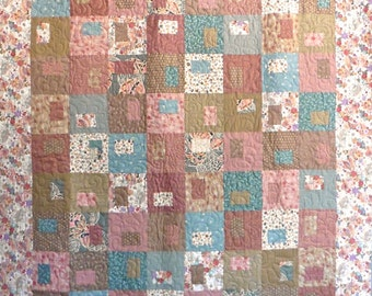 Patchwork Quilt - aqua, pink and tan Japanese Gems throw quilt