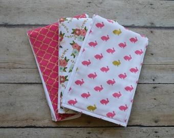 Monogrammed Burp Cloth, Set of 3, Personalized  Burp Cloths, Girl Burp Cloth,Bunny, Baby Gift