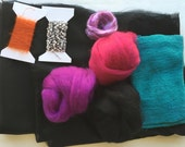 Nuno Felting Supply Pack - Black with Brights