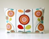 12 x 18 inch retro style lumbar cushion cover, red, lime green, apricot orange, turquoise, grey flowers floral decorative pillow cover