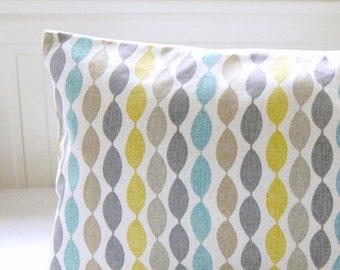 blue retro decorative pillow cover grey yellow lime cushion cover 20 inch