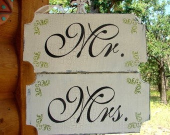 MR and MRS Signs- Thank You-  Wedding Signs- set of 2 12x6 - REVERSIBLE Wedding Chair Signs!