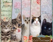 Cat Bookmarks, Printable Bookmarks, Digital Download, Kitten Images, Cat Images, Instant Download, Digital Tags, Junk Journal, Scrapbook Tag
