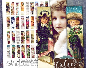 Victorian Holiday, Collage Sheet, Printable Download, Christmas, MatchStick Size, Hald Domino, Vintage Ephemera, 12x50mm, Digital Images
