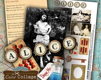 The Real Alice Digital Collage Sheet Printable Altered Art Alice in Wonderland Mixed Media Decoupage Paper Calico Collage Journalling