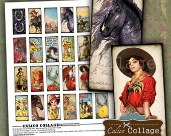 CowGirls, Domino Collage Sheet, 1x2 inch Images, Southwest Images, Horse Images, Wild West Images, Pendant Images, Digital Sheet