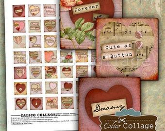 Art Hearts Digital Collage Sheet 1x1 Inch Square Images Printable Images for Jewelry, Journaling, Valentines Day, Love Images, CalicoCalico