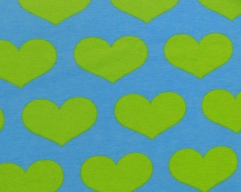 Knit Lime aqua hearts 1 yard cotton lycra knit