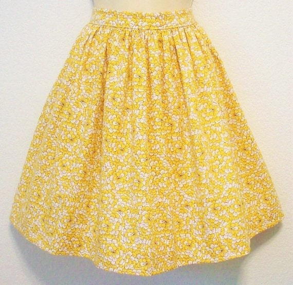 "Yellow Retro Skirt, Mums, Floral, Women's Full Gathered Skirt, Waist 28 1/2"", Eclectasie"