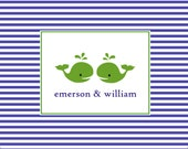 Custom personalized twin note cards nautical whale notecards children stationery kids notecards