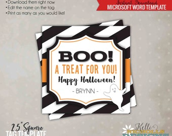 Boo! a Treat for You Halloween Tag, Halloween Candy Baggie Tag Template, Printable Instant Download