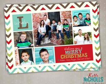 Chevron Multi Picture Christmas Card, Custom Modern Printable Holiday Greeting Card, Merry Christmas #C104