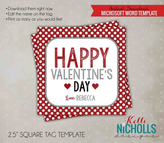Red and White Polka Dot Valentine's Tag Template, Printable Treat Bag Tag - Instant Download