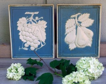 Fruit Wall Plaques Raised Relief