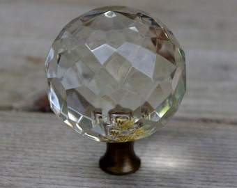 Vintage Faceted Clear Glass Lamp Finial