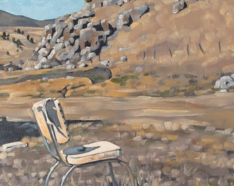 """Original Contemporary Landscape Painting, Oil Painting of Rural Scene with Old Chair, Ready to Hang Wall Art - """"Best Seat in the House"""""""