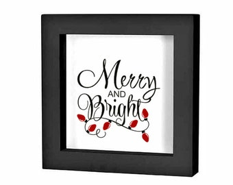 """Christmas Shadow Box Decal Christmas Decoration """"Merry and Bright"""" Christmas Charger Plate Decal Holiday Sign Vinyl Sticker Christmas DIY"""