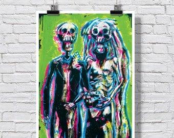 """Poster Print 18 x 24""""  - Day of the Dead Wedding  -  Dia de Los Muertos alavera sugar skull skeleton wedding bride and groom"""
