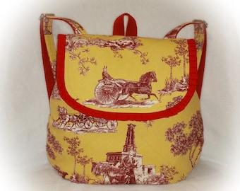 FREE Ship USA Canada - J Castle Backpack Bag - French Yellow Red Toile Canvas Designer Fabric - - (Ready to Ship)