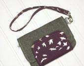 END of YEAR SALE - Fresh n Trendy Zipper Wallet   - Essex linen in brown with bird accent