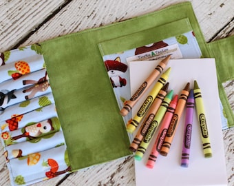Woodland Creatures Crayon Wallet - Crayon Roll - Includes Crayola Crayons and Paper - Crayon Organizer - Party Favor - Drawing Kit