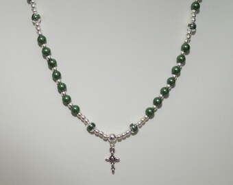 Magnetic Hemalyke & Silver Rosary Necklace - Made to Order - Emerald Green