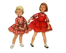 1950s Girls Dress and Overdress Pattern Puff Sleeves Square Neck Pinafore Jumper Sundress Simplicity 2160 Size 6 Vintage Sewing Pattern