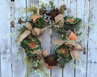 Succulent Wreath, Garden Wreath, Living Wreath, Everyday Wreath, Home Decor Wreaths