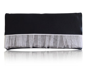 Navy and ivory tulle Romilly clutch purse