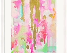 Watercolor Pink Abstract Art Print-Pink-Fine Art Print-Watercolor Painting-Mint-Gold-Wall Art