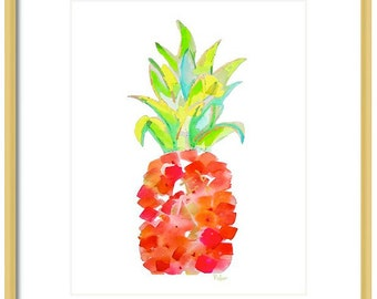 Watercolor Pineapple Art Print-Orange Pineapple Art-Wall Art-Wall Decor- Fruit Print-Fine Art-Home Decor-Tropical Art-Giclee Print