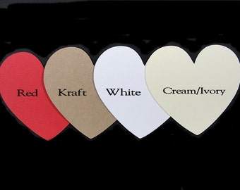 "25 Die Cut Paper Hearts, 3"", Wedding Wish Cards, Baby Shower Wish Cards, Available in other Colors"