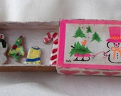 Pink Christmas snowman Hallmark vintage miniature Italian matchbox upclycled into holiday cookie diorama