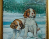Snow Puppies in Yosemite (Brittany Puppies) (Print)