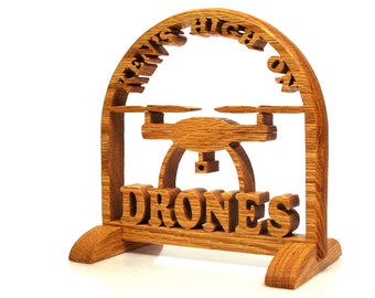 Drone Sign, Filming Drone Sign, Wood
