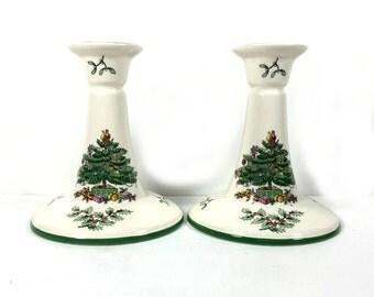 "Vintage Candlestick Holder, Spode ""Christmas Tree"" Pattern"