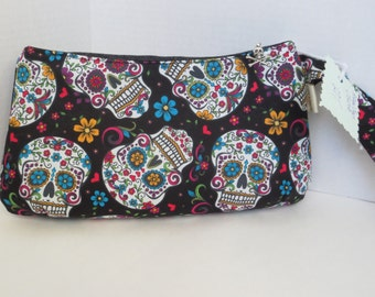 Sugar Skulls - Day of the Dead - Clutch - Wristlet - Skull Bag