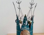 MJB coffee crown - vintage can, wire, beads, and baubles