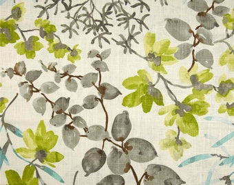 """Grey Chartreuse Curtains, Modern Floral Curtains, Foliage Print Drapes, Watercolor Print Drapery Panels, Custom Rod Pocket, One Pair 50""""W"""