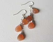50% off Super Summer Sale Discount was 56 - Peach Moonstone Triple Dangle Earrings - Handmade in Seattle - Perfect Gift for Her