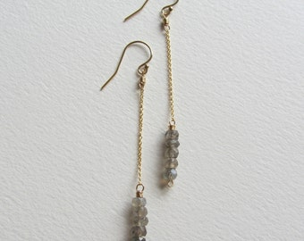 Labradorite Bar Earrings - Blue Flash Gemstone - Wire Wrapped Gold Filled Jewelry