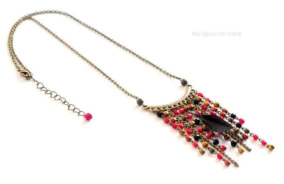 Short adjustable red and black fringe and feather necklace,Fringe necklace,Feather necklace,Original necklace,Designer jewelry,Boho necklace