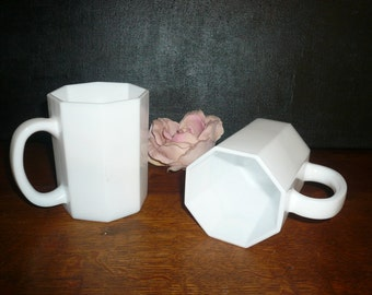 Vintage White Milk Glass Coffee Cups Serving Cups Octagon Mugs Man Cups Dinnerware Cups
