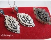 Sterling silver earrings, brooch set. Savat technique.