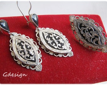 Sterling silver earrings, brooch set. Savat technique.