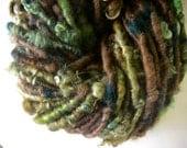 Handspun Corespun Art Yarn of Hand Dyed Wool Locks in Woodland Greens and Deep Brown by KnoxFarmFiber for Knitting Weaving Embellishment