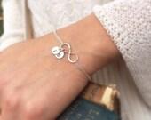 2-DAY 20% OFF SALE Personalized Infinity Bracelet, Best Friends, Mothers bracelet, Sterling silver Initial bracelet, Family initials, sister