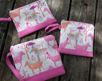 Pink wristlet zipper bag zebra bird phone case modern preppy pouch Origami Michael Miller fabric