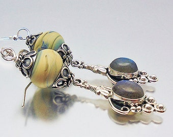 Labradorite and Sterling Silver Dangle Earrings