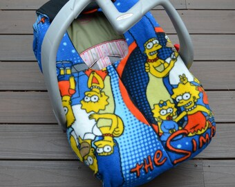The Simpsons Baby Car Seat Cover, Blanket with Zipper for Geek, Nerd, Superfan- not a registered product of the Fox Broadcasting Company